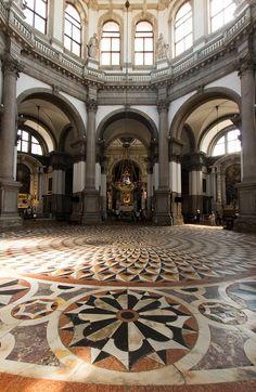 Inside the church of Santa Maria della Salute in Venice.