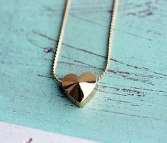 Gold Block Heart Necklace  by Diament Designs