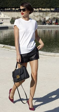 miranda kerr, fashion, leather short, leather skirts, red shoes, outfit, black white, red lips, shorts