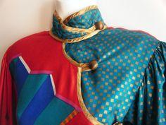 80s avant garde mini dress Jeanne MARC wearable art cheongsam, size xs. $135.00, via Etsy.