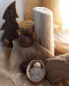 walnut babi, steiner craft, natur tabl, autumn, nature table, fall natur, waldorf walnut, walnuts, wee waldorf