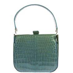Auth Hand Bag Light Blue Silver Crocodile Leather Vintage Made In France R06915 | eBaysuper colour