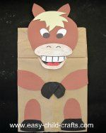 Make a paper bag puppet horse.