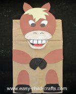 Make a paper bag puppet horse.