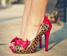 cheetah, red, style, leopards, animal prints, heels, bow, leopard prints, shoe