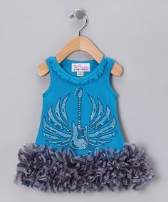 Take a look at this Turquoise Zebra Guitar Ruffle Dress - Infant, Toddler  Girls by The Princess and the Prince on #zulily today!