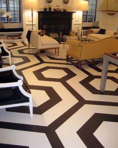 floor painted hexagonal pattern