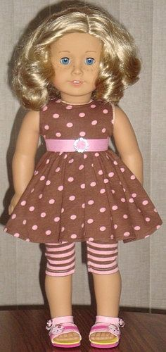 Brown & Pink Polka Dot Twirl Dress For American Girl Or Similar 18-Inch Dolls $24.99