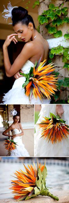 Aves del ramo de la boda paraíso tropical, naranja, paleta de color de la boda amarillo, verde y púrpura,
