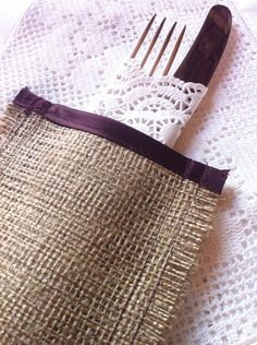 Burlap wedding cutlery sleeves, gorgeous burlap and satin silverware sleeves, perfect for christmas dining or your wedding meal #etsy #wedding #rustic #burlap #cutlery By BaloolahBunting on Etsy