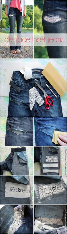 DIY: Lace Inset Jeans need to try!!!!!