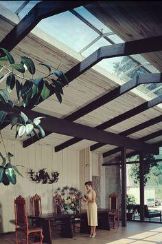 Mid century modern home courtyard