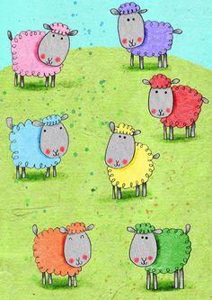 cally jane studio color, whimsic illustr, sheep doodles, sheep art, sheep drawing, rainbow