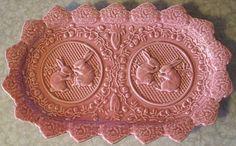 Vintage Bordallo Pinheiro Pink Oval Serving Rabbit Platter from Portugal