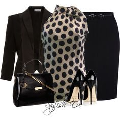 stylish eve, fashion, polka dots, style, the office, offices, work outfits, black, business chic