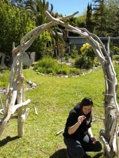 DYI driftwood wedding arch