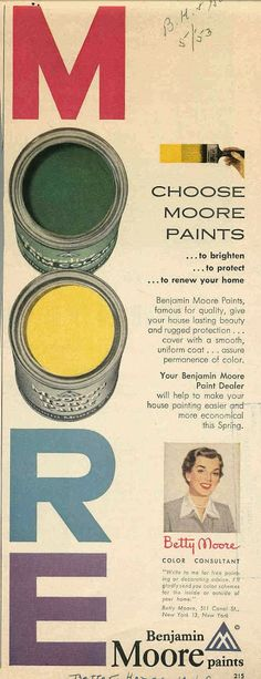 Here's an ad from 1953 for Throwback Thursday. Share it if you choose Benjamin Moore paints, too!