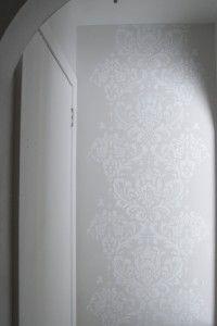 Beautiful damask wall stencil (white on light grey wall paint)
