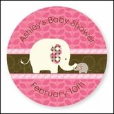 Pink Baby Elephant  - 24 Round Personalized Baby Shower Sticker Labels