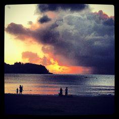 Sunset over Hanalei Bay.