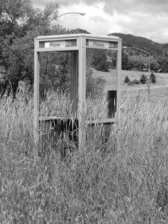 abandoned phone booth at Hornbrook, California