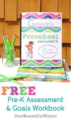 FREE Printable Preschool Assessment & Goals Workbook!!