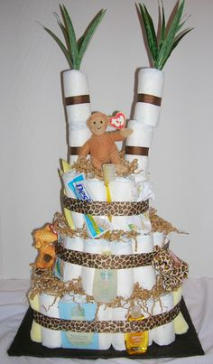 Baby Shower : Cool Jungle Theme for Baby Shower - Jungle Theme Diaper Cake For Baby Shower Ideas