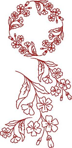Rose Pink Redwork Set