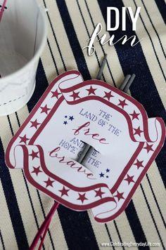 July 4th printable,  Sparkler holder sparkler holder, holiday printabl, free holiday