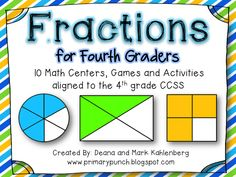 10 Math Centers, Games and Activities for 4th graders aligned to the 4th Grade CCSS!!