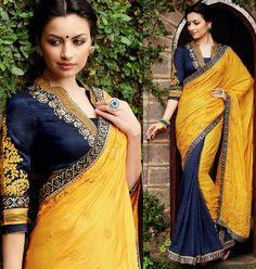 Scintillating Golden Yellow and Midnight Blue #Saree