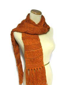 Hand Knit Scarf Orange Scarf Pumpkin Scarf Knit by ArlenesBoutique, $50.00