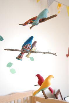 Bird mobile for woodland nursery