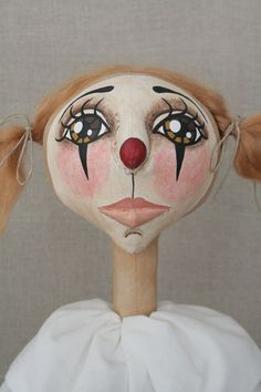 Primitive Sweet Pink Clown Folk Art Doll with by millercampbell, $400.00