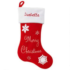 Personalized Merry Christmas Velvet Stocking #red #snowflake #velvet #stocking #personalized #Christmas $18.99