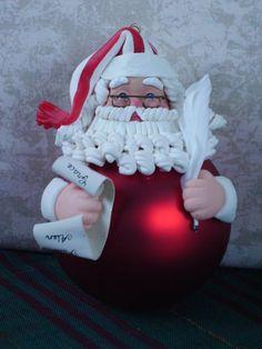 Clay Glass Ball Santa Making A List Christmas Ornament Wonderful Detail | eBay