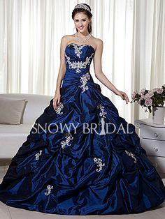 Woah look at that color  Royal Blue Ball Gown Long Taffeta Sweetheart Corset Wedding Dress - Style W0385 - Snowy Bridal wedding dressses, balls, winter wedding dresses, corsets, blue, gown taffeta, floor length, dress styles, royal ball gowns