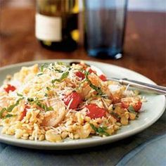 Shrimp and Orzo with Cherry Tomatoes and Romano Cheese | MyRecipes.com (Substitute gluten free pasta and parmesan cheese)