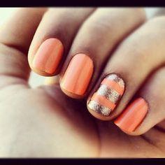 orang, gold nails, color, nail designs, summer nails