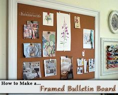 This detailed tutorial to make a Framed Bulletin Board is perfect for any home office, kitchen, school room, or bedroom! Plus, it costs hundreds of dollars less than a store bought version! | The Happy Housewife
