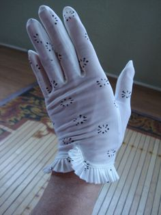 Love these vintage gloves! Vintage 1950s Polka Dot Gloves Black and White by bycinbyhand, $16.00