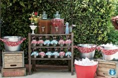 beverage stations, summer parties, backyard bbq, 4th of july, drink bar, mason jars, drink stations, picnic, baby showers