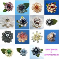 Flower button brooches