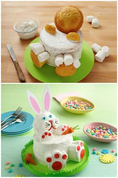 Two cake rounds and some cupcakes and marshmallows and you have yourself an easy, but impressive bunny cake!