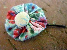 Vintage Yo Yo Hair Clip Bobby Pin - Floral