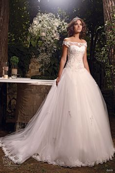 AKAY Ball gown with off the shoulder lace straps and lace-trimmed skirt. So princess-like!