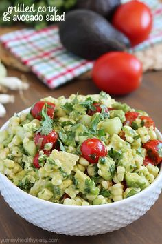 Delicious grilled corn mixed together with avocado, tomato, feta, green onions, cilantro and cucumber then tossed in an easy dressing.