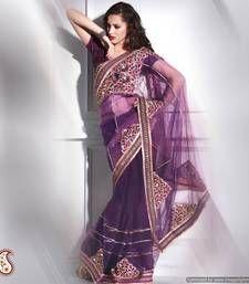 Byzantium Purple Embroidered Net Saree net-saree @ www.mirraw.com blouses, patch work, designer sarees, sare netsare, purple, jaal butta, butta net, net sare, blous petticoat