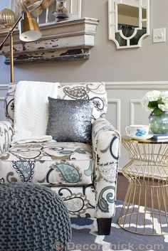 Created a new functional and colorful seating area in the living room with great finds from @HomeGoods including the upholstered chair, sequin pillow, herringbone throw, swing arm lamp, tea set and vase. Traditional and modern are paired together along with some cozy textures for a new seating area everyone will love. #sponsored #HomeGoodsHappyResolutions | www.decorchick.com