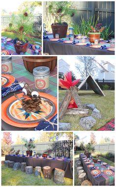 bonfir, chair, birthday parti, camp parti, parti host, seat, parti theme, parti idea, children parti
